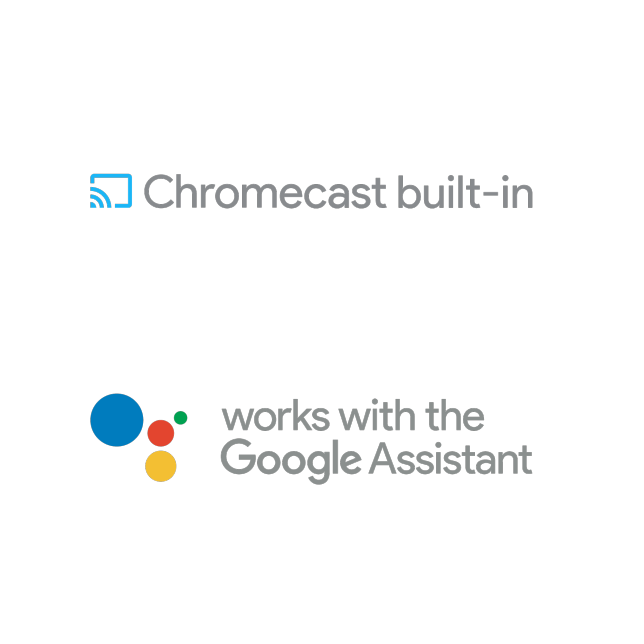 Logo of Chromecast Built-in, Logo of Works with the Google Assistant