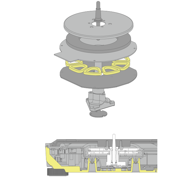 Graphic of Direct Drive Motor, Graphic of High Rigidity Cabinet