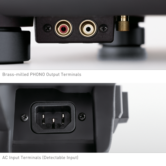Photo of Brass-milled PHONO Output Terminals, Photo of AC Input Terminals (Detectable Input)