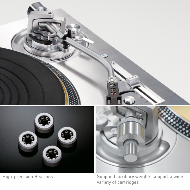 Photo of High-sensitive Tonearm, Photo of High-precision Bearings, Photo of Supplied auxiliary weights support a wide variety of cartridges